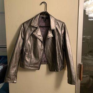 Silver moto faux leather moto jacket s